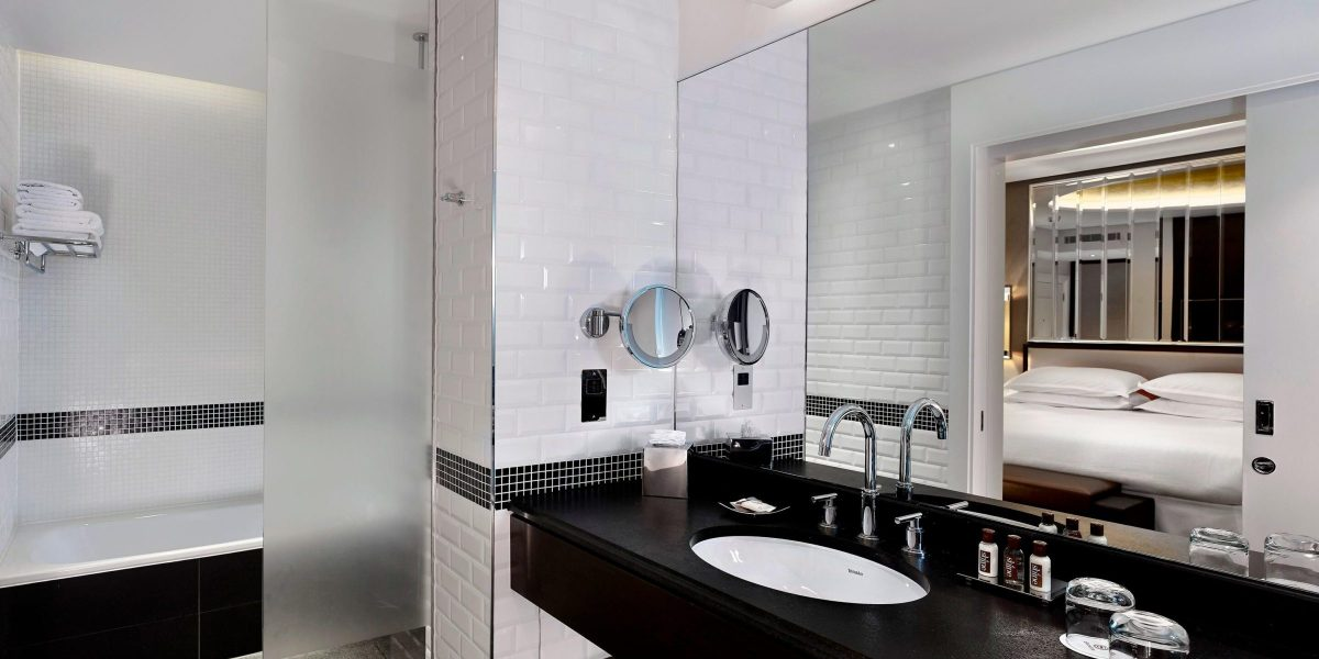 Sheraton Guest Bathroom Nero Assoluto Vanity By Marble And Granite Ltd 2400x1200