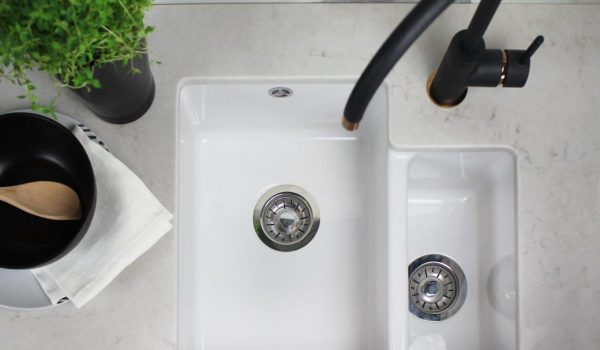 Caesasrtone London Grey Undermount Ceramic Sink Black Tap