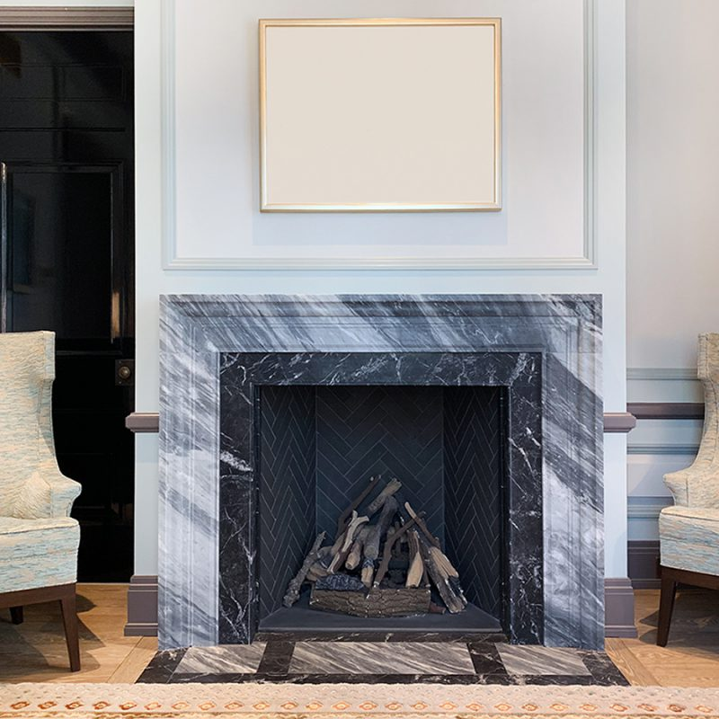 Marble Fire Place In Reception