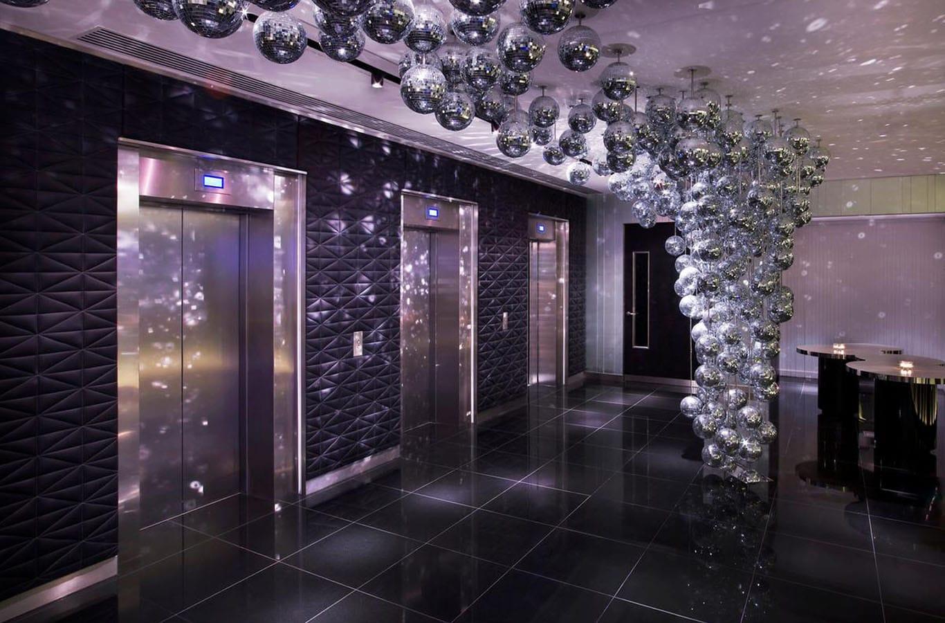 Polished Black Granite Tiles - The W Hotel Lift Lobby