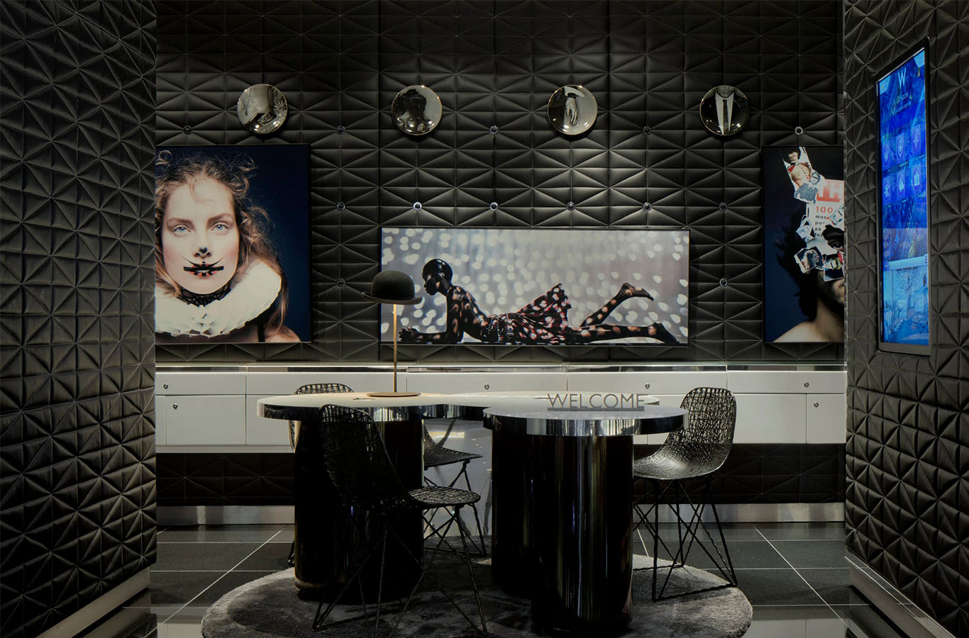 Polished Black Granite Tiles - The W Hotel Lobby