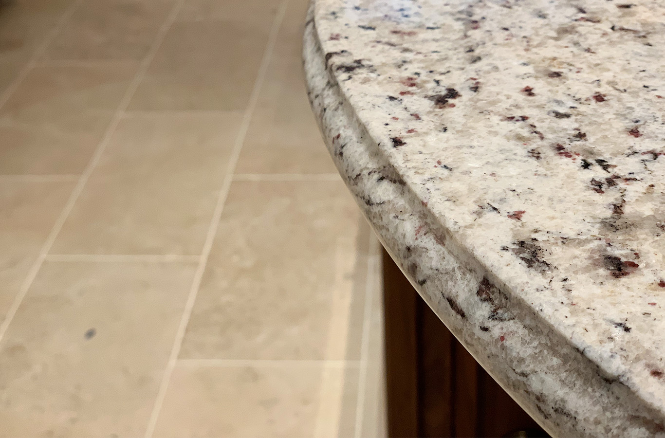 Polished Colonial White Granite Kitchen Worktop - Private Residential