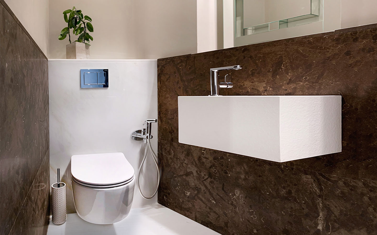 Chocolate brown spanish limestone clad guest WC, supplied and installed by M&G - Private residential