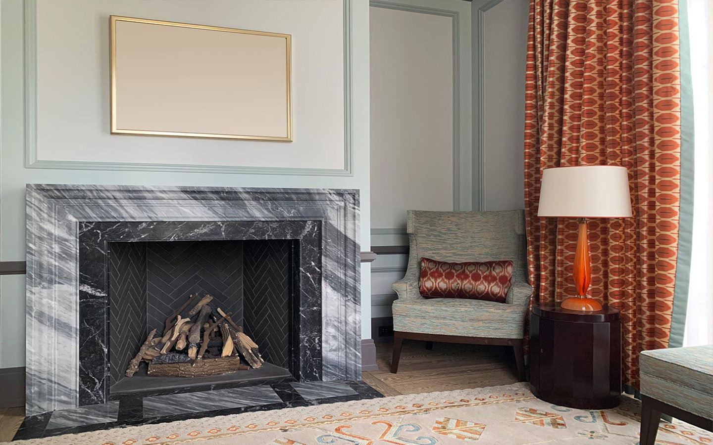 Custom-made marble fireplace, supplied and installed by M&G Ltd – Private residential