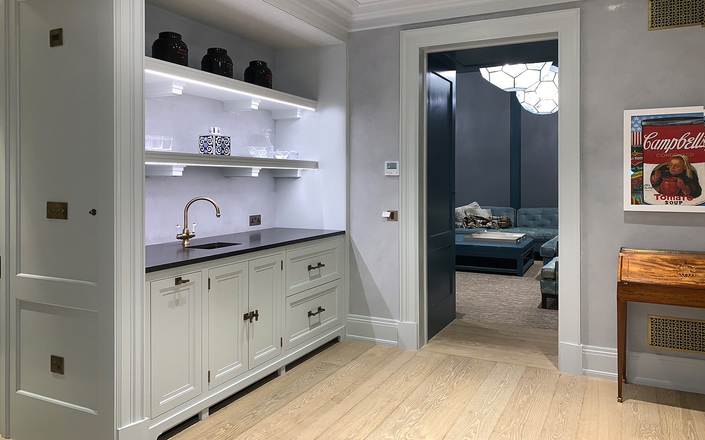 Drink and snack prep station with granite worktop