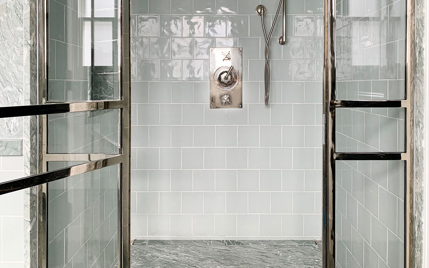 Verde Antigua marble paired with metro tiles